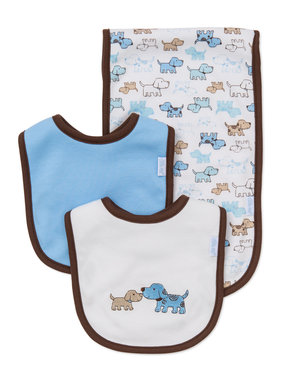 Little Me Cute Puppies Bib & Burp set