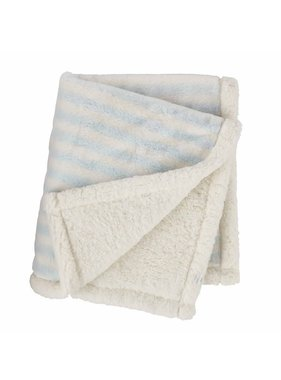 Mud Pie Blue Striped Faux Fur Blanket