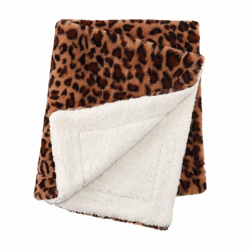 Mud Pie Leopard Faux Fur Blanket