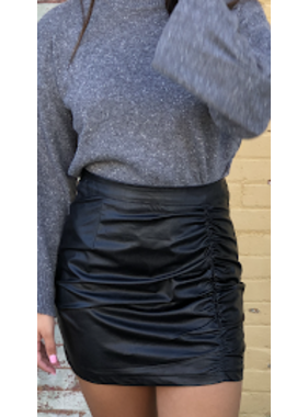 Glam Ruched Pleather Mini Skirt