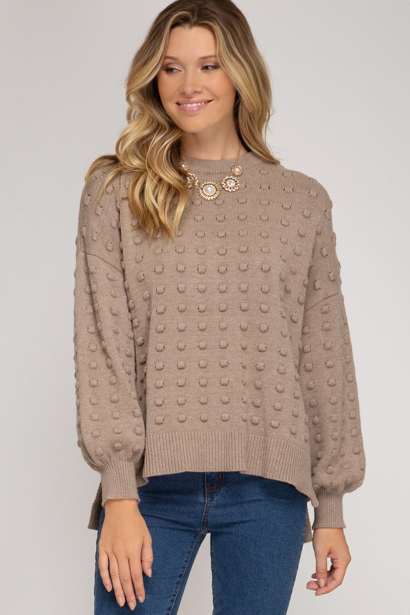 She + Sky Long Balloon Sleeve Textured Knit Sweater