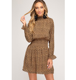 She + Sky Long Sleeve Animal Print Dress