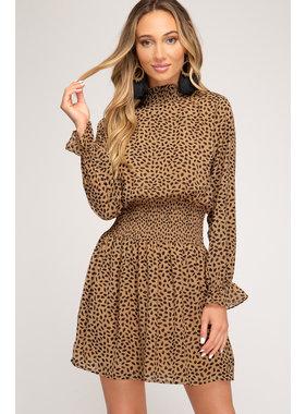 She + Sky Long Sleeve Animal Print Dress