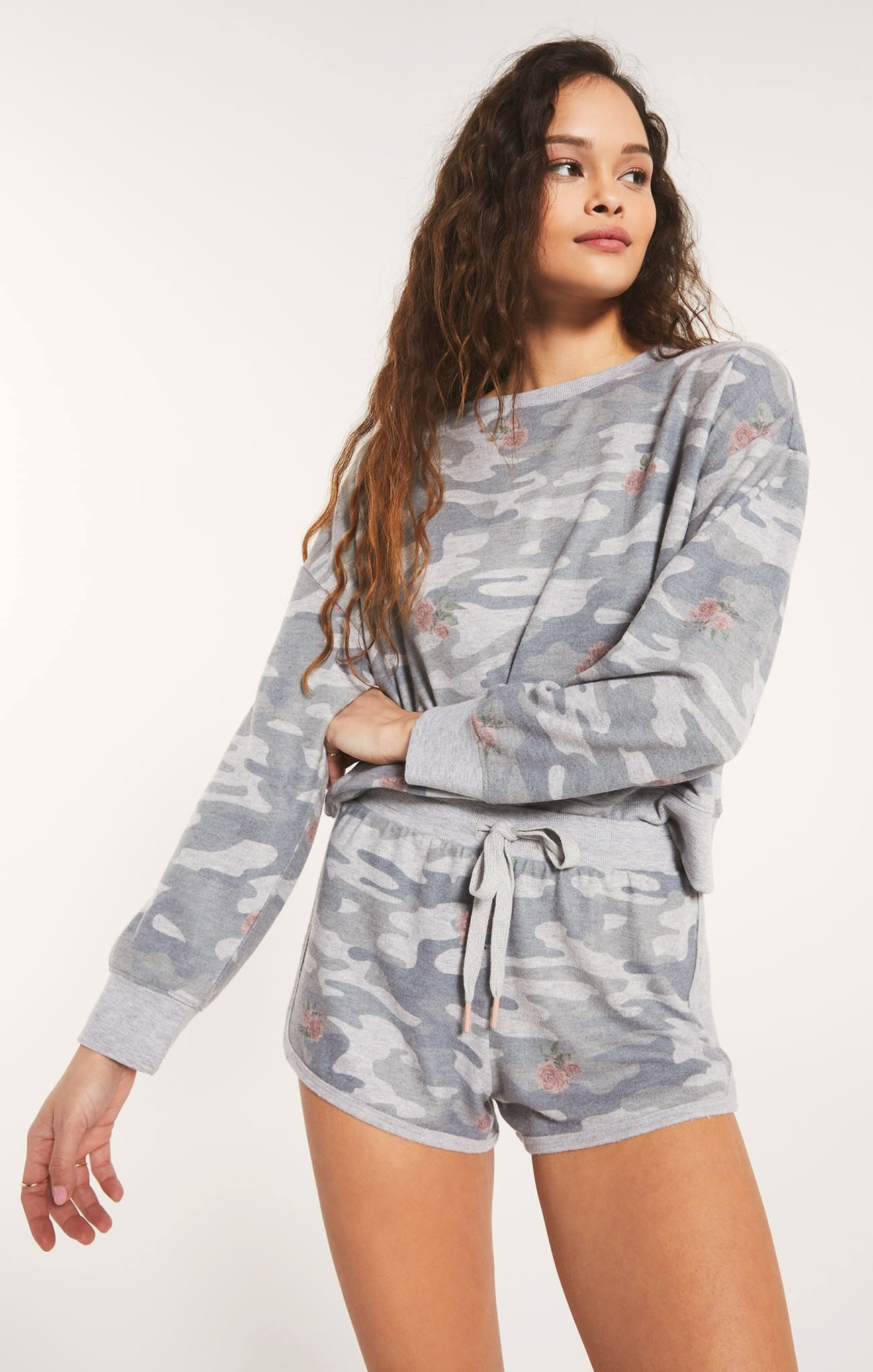 Z Supply Elle Rose Camo L/S Sweatshirt