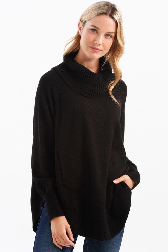 Charlie B Round Hem Turtleneck Raglan Sweater