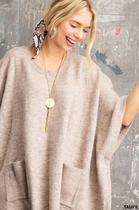 Kori America Round Neck Poncho Sweater