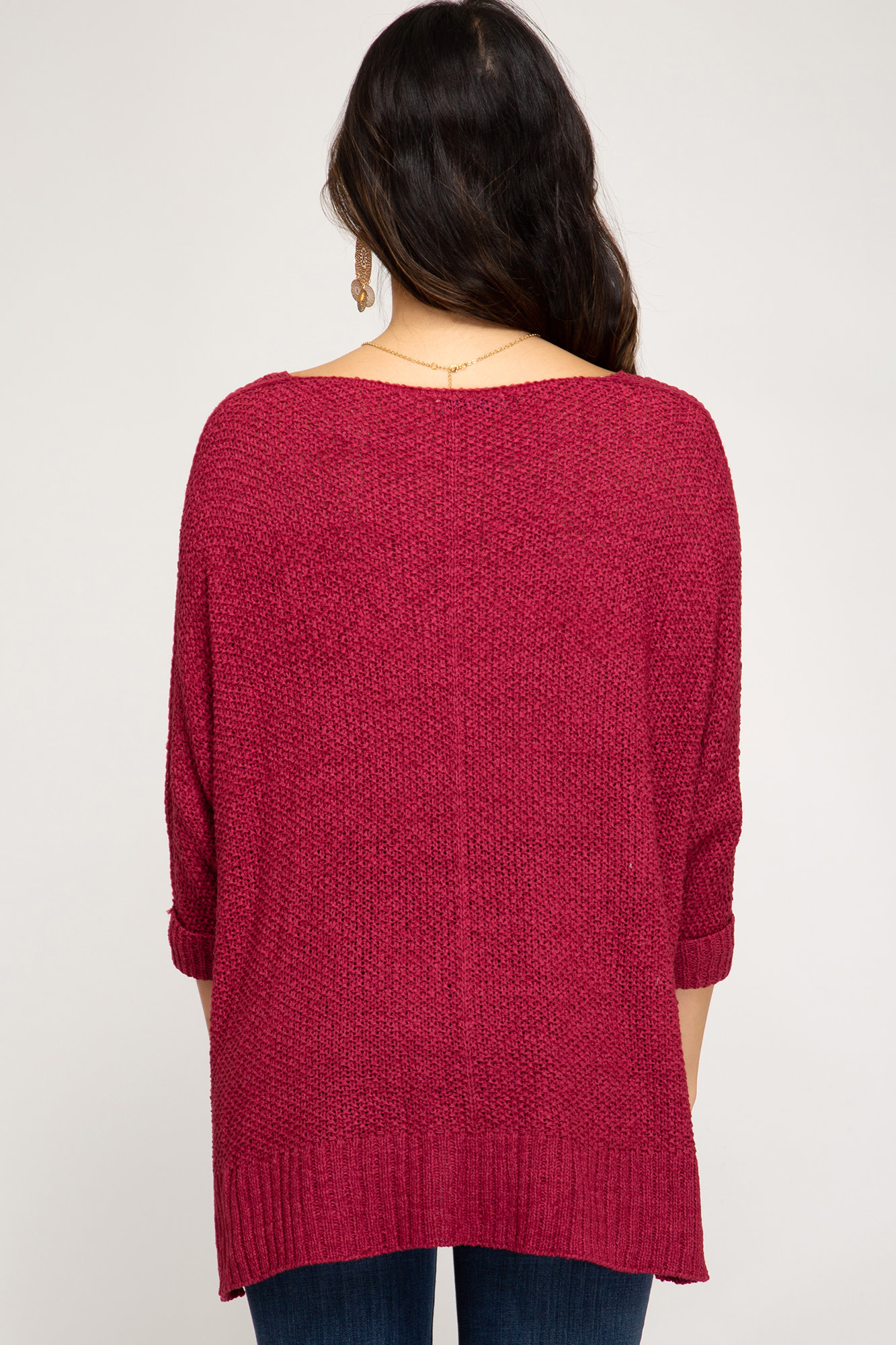 She + Sky 3/4 sleeve hi-low pullover sweater