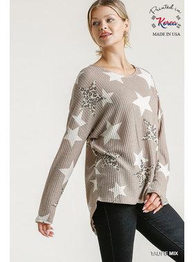 Umgee Star and animal print waffle knit top