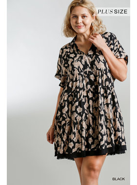 Umgee Animal Print Collared split neck dress