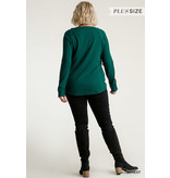 Umgee Ribbed button front top