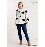 Umgee Star pattern round neck puff sleeve sweater