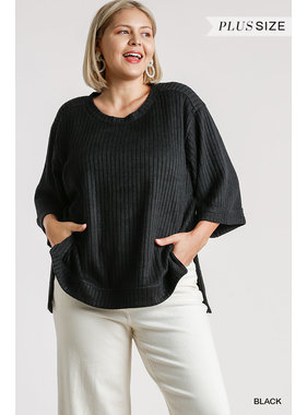 Umgee Ribbed 3/4 sleeve top