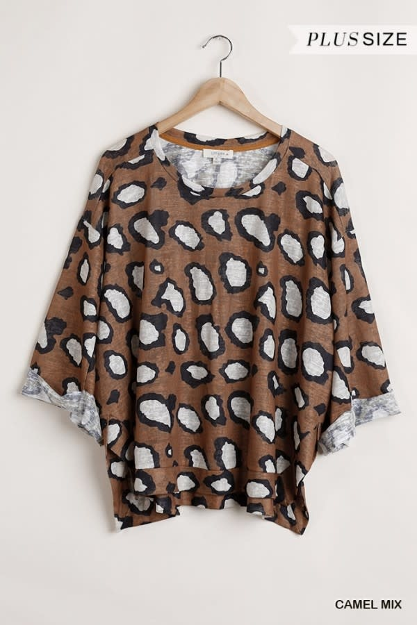 Umgee Animal print 3/4 sleeve top