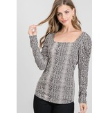 Allie Rose Puffed LS Knit Top