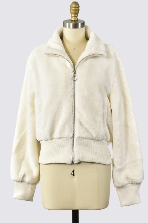 Trend Shop L/S cropped sherpa bomber jacket