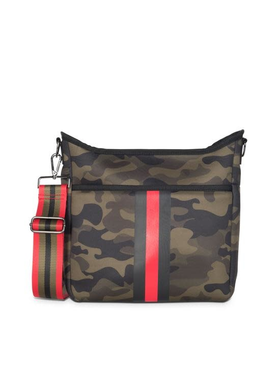 Haute Shore Brat - Green Camo Red/black stripe Blake Crossbody