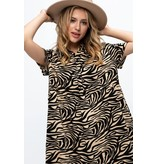 Papermoon Zyanya Zebra Babydoll Shirt Dress