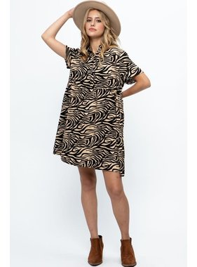 Papermoon Zyanya Zebra Babydoll Shirt Dress