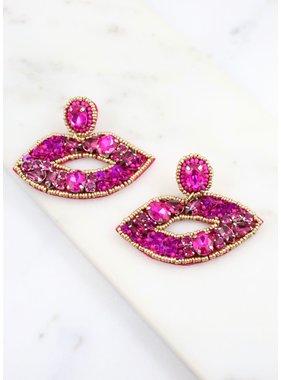 Caroline Hill Darling Embellished Lips Earring