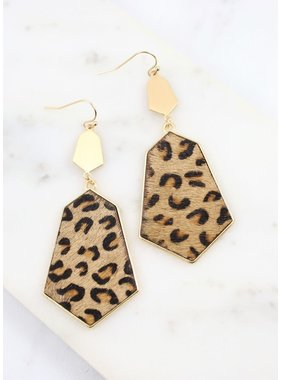 Caroline Hill Minny Leopard Print earring