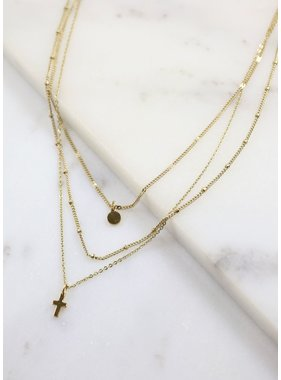 Caroline Hill Timothy layered necklace w cross