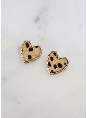 Caroline Hill Trevie Animal Print Heart Stud Earring