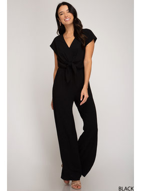She + Sky Short Sleeve Woven Jumpsuit with Front Tie Detail