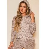Peach Love California KT43070 Animal Printed l/s hoodie