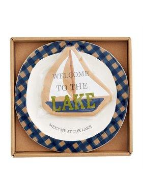 Mud Pie Lake Hand Painted Cheese Set