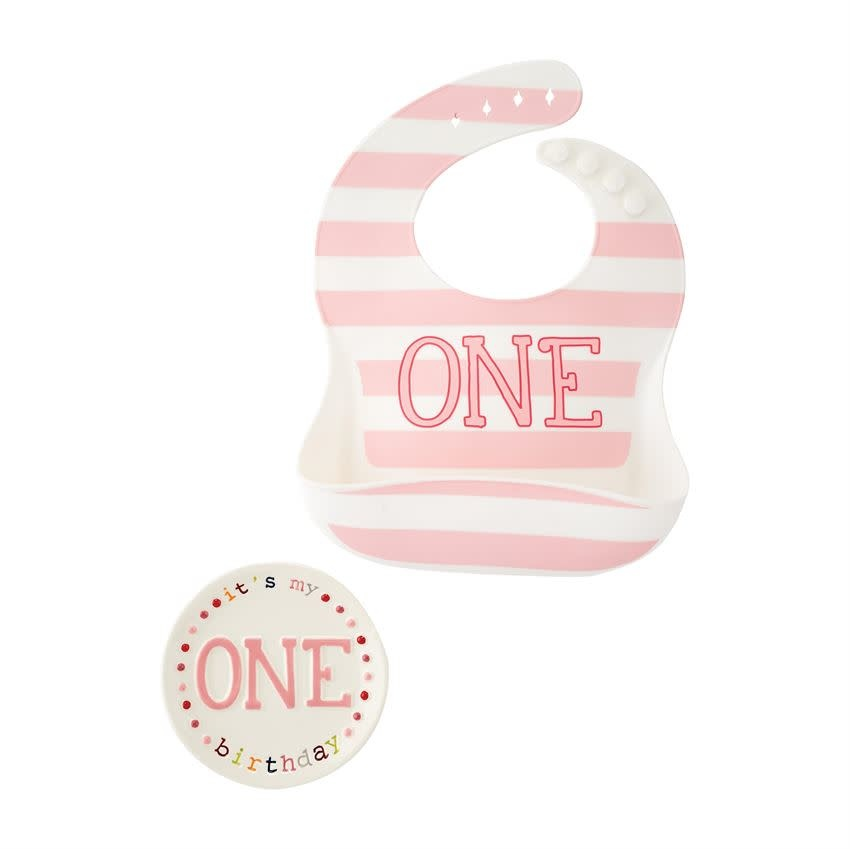 Mud Pie One Girl Bib & Plate Set