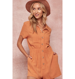 promesa usa Button Front Romper