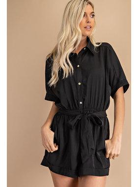 Glam Button Down Shirt Romper
