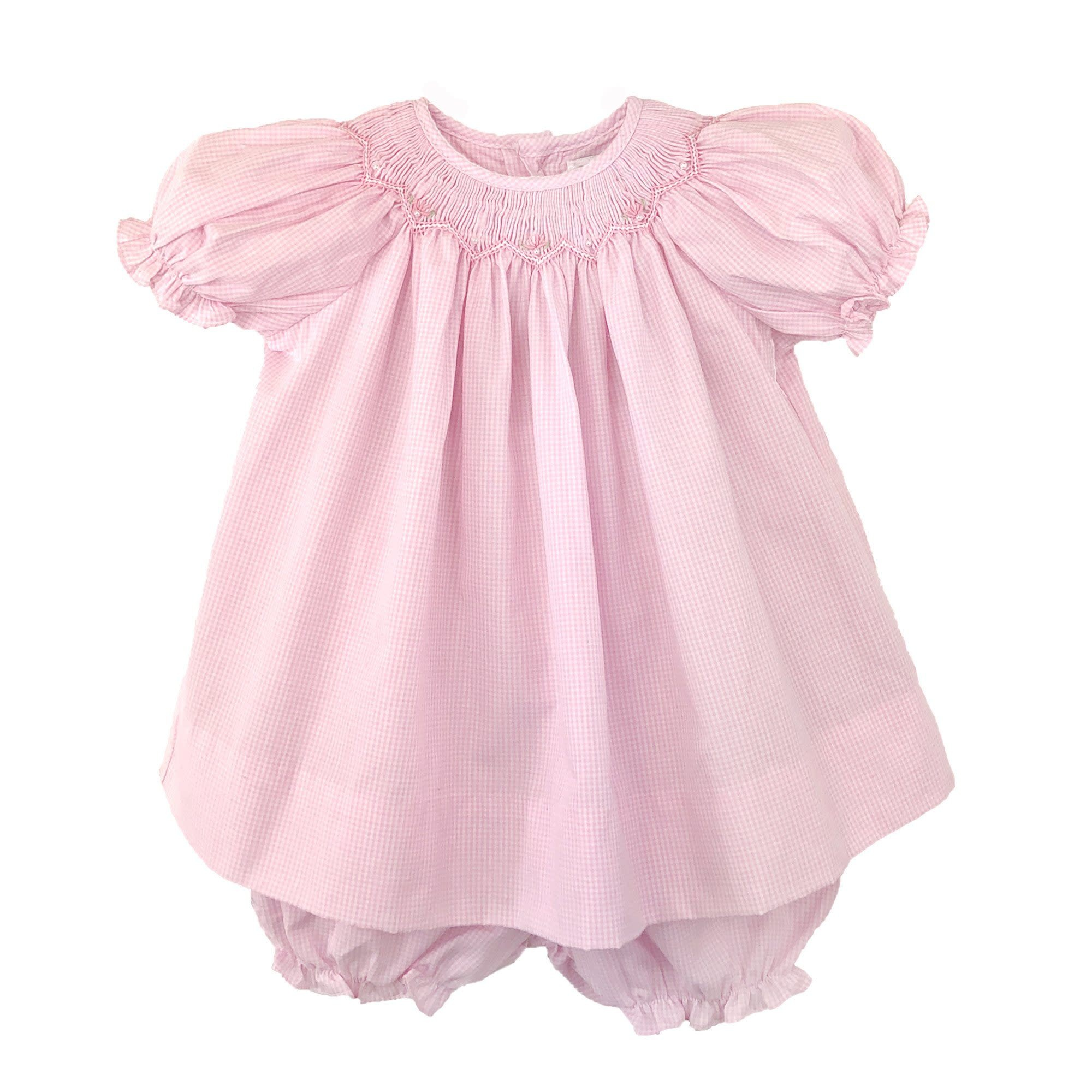 Renzo Bishop Zig Zag Smocked Dress New Born