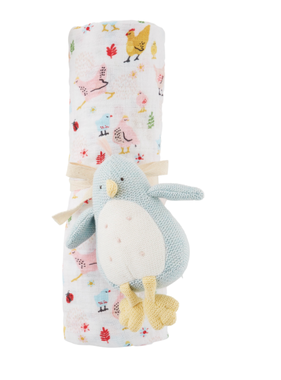 Mud Pie Chick Rattle and Swaddle