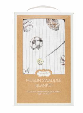 Mud Pie Sports Muslin Swaddle
