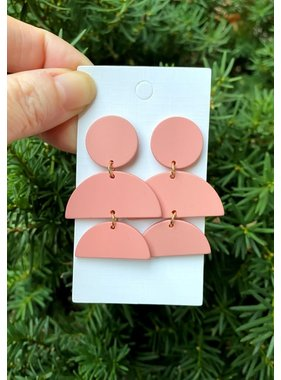 Baubles by B Pink Stacked Luna Acrylic Earrings