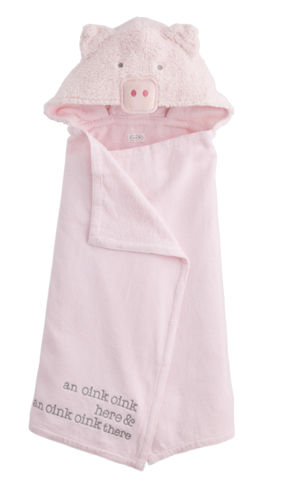 Mud Pie Pig Baby Hooded Towel