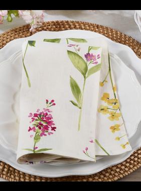 Saro Trading Watercolor Floral Stems Napkin