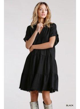 Umgee Linen Blend SS Ruffle Tiered Dress