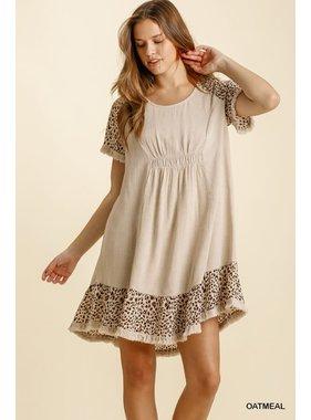 Umgee Linen Blend Animal Print Dress
