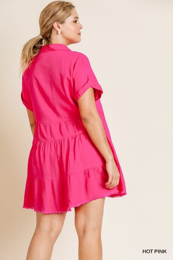 Umgee SS Collared Tiered Dress