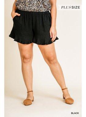 Umgee Linen Blend Elastic Waist Shorts