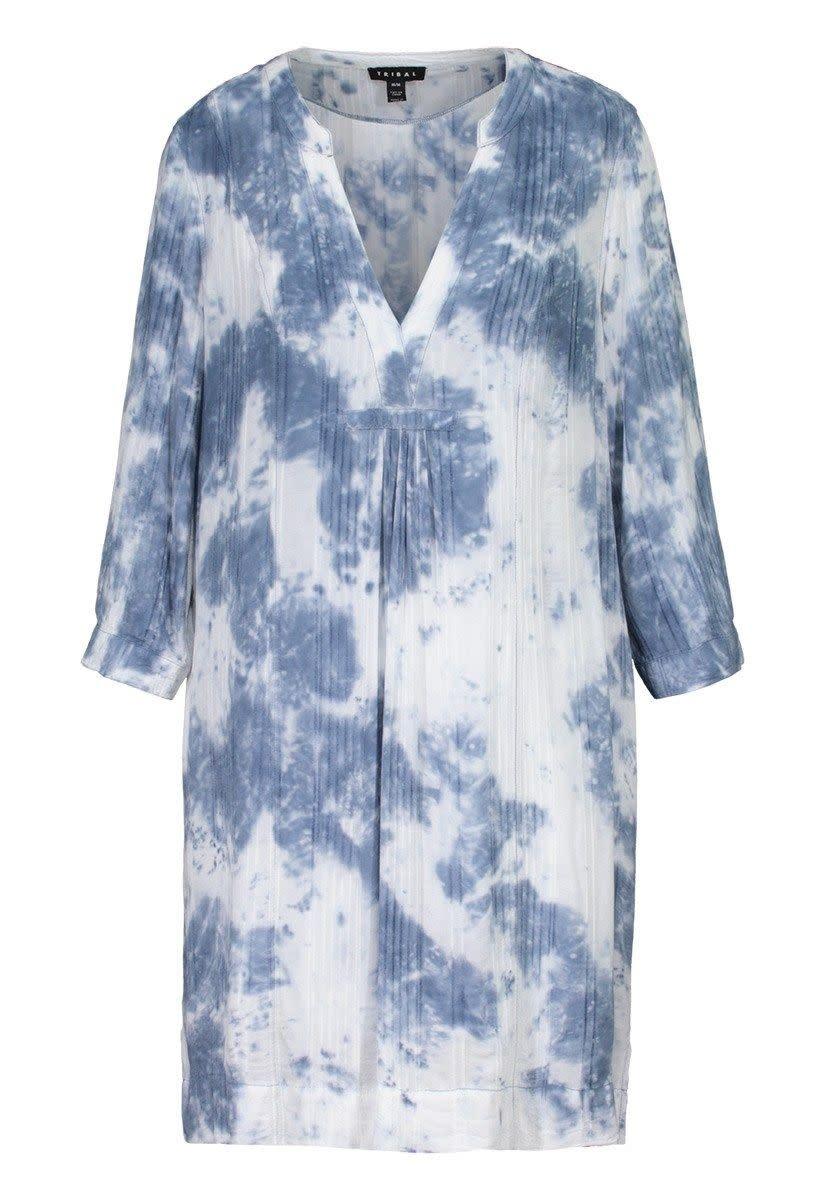 Tribal 3/4 Sleeve Notch Collar Dress
