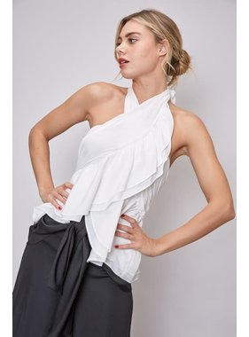 Do + Be Collection Halter Sleeveless Ruffle Back Bow Tie Top