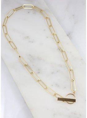 Caroline Hill Kingman Link Necklace w Bar Toggle
