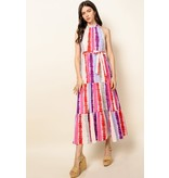 THML Clothing Tie Dye Tiered Maxi Dress