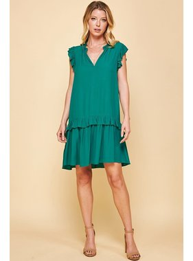Pinch Ruffle Drop Waist Mini Dress