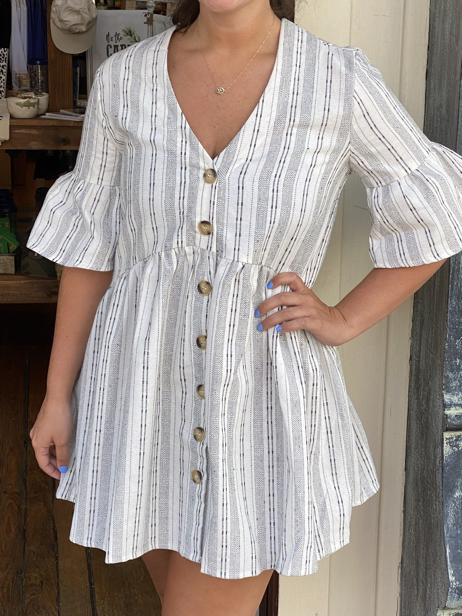 Before You Collection Linen Embroidered Dress