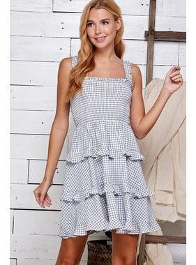 Sweet Lemon Plaid Textured Tiered Dress