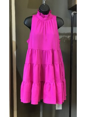 TCEC Magenta Tiered Dress with Neck Ruffle - CD02060